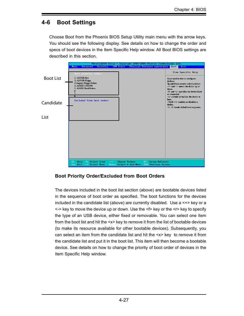 6 boot settings   SUPER MICRO Computer X7SBL-LN1/LN2 User Manual