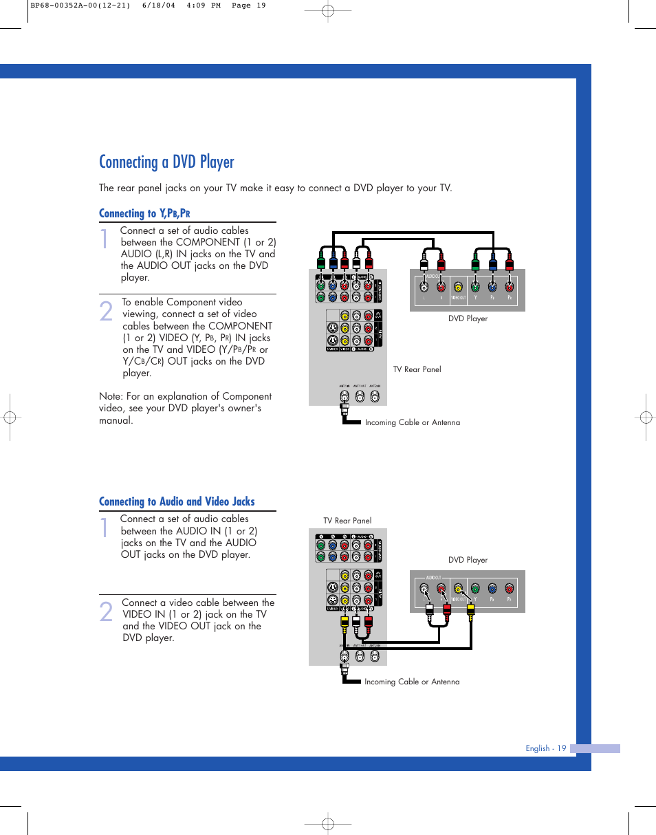 Connecting a dvd player | Samsung HL-P5085W User Manual | Page 19 / 91