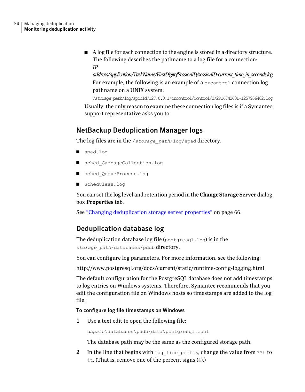 Netbackup deduplication manager logs, Deduplication database