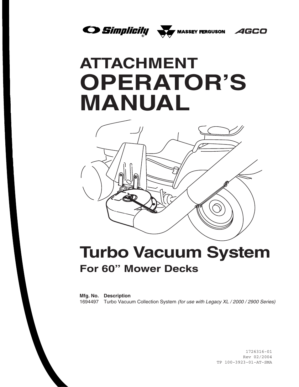 simplicity turbo vacuum collection system user manual 12 pages rh manualsdir com Simplicity Legacy XL Craigslist Simplicity Legacy XL Attachments