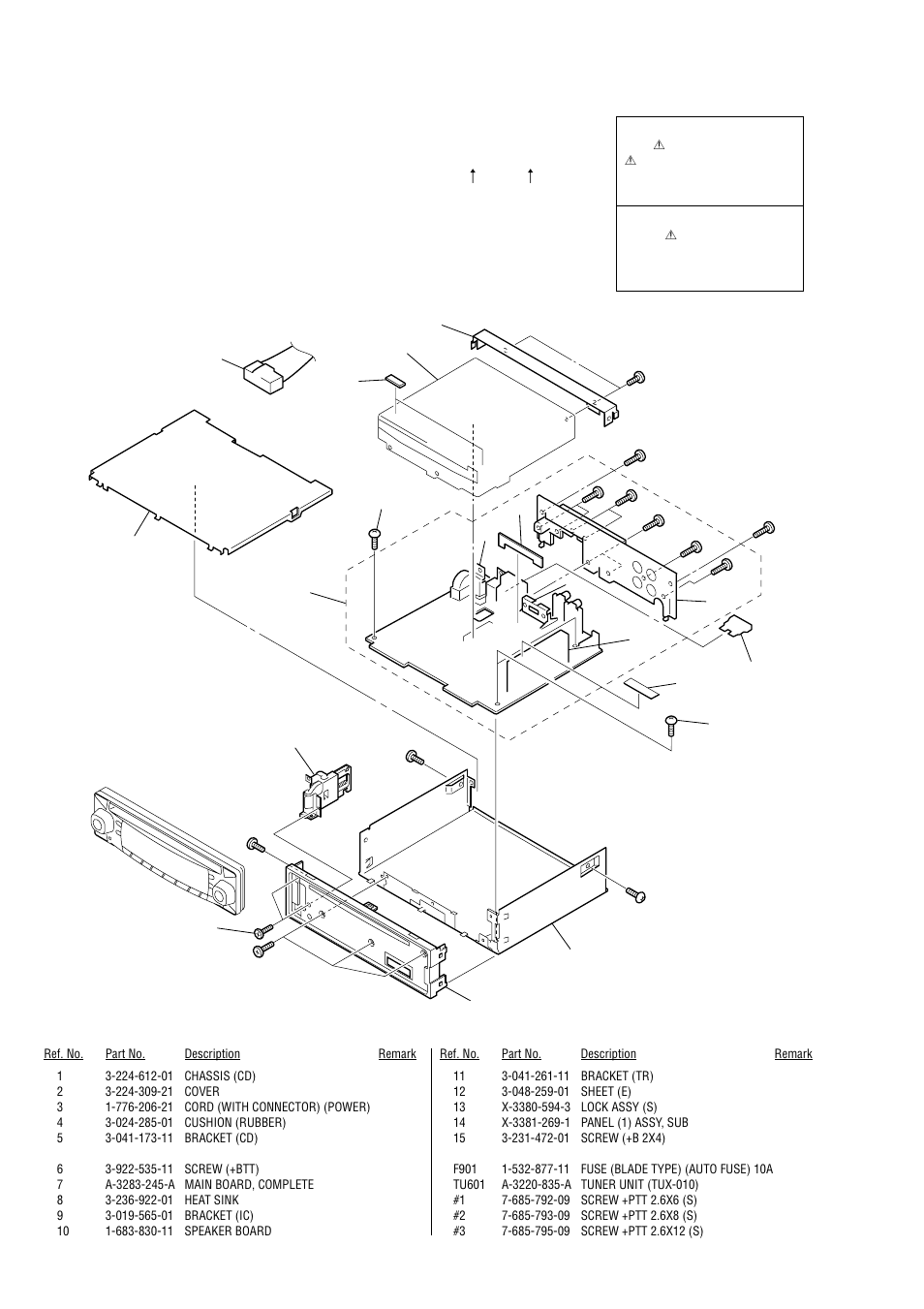 exploded views, chassis section sony cdx ca530x user manual pageexploded  views, chassis section sony