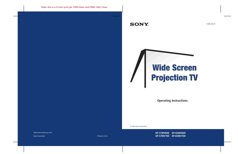 sony kp 57wv600 user manual 101 pages rh manualsdir com