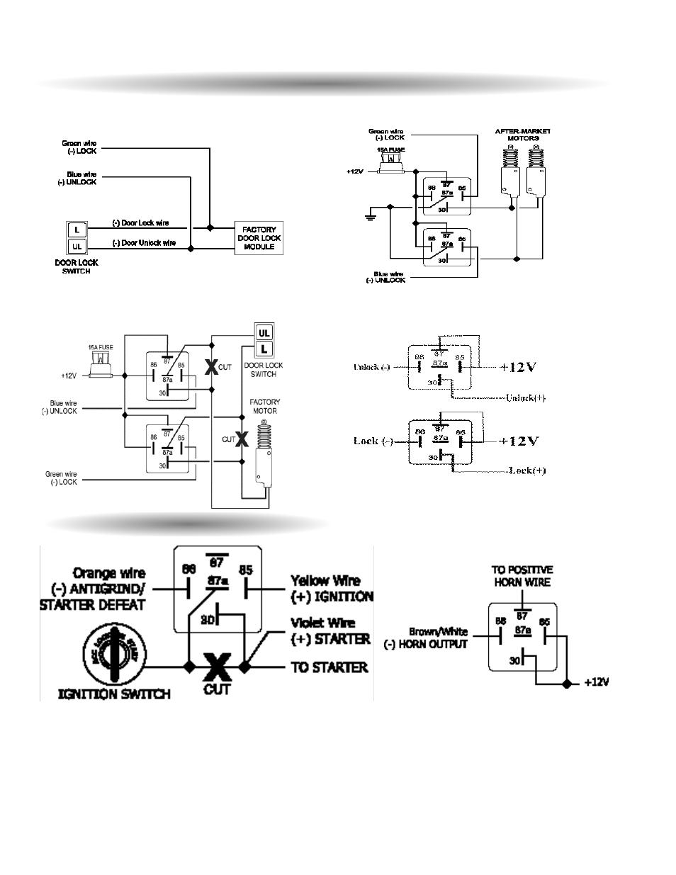 scytek schematic door lock diagrams, starter interrupt | scytek electronics g20 user manual | page 11 / 12  #5