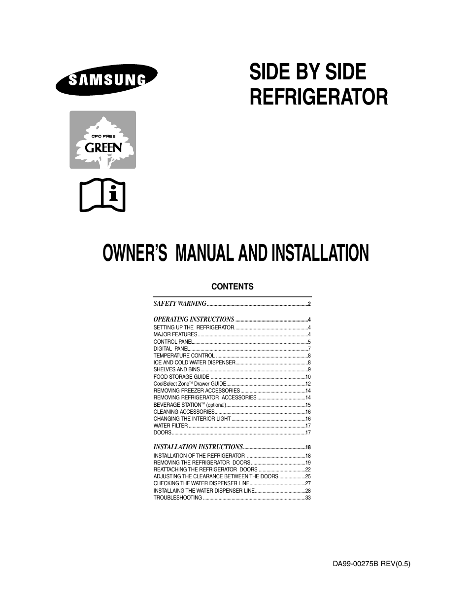 Samsung Model Rs27klmr User Manual 36 Pages Also For