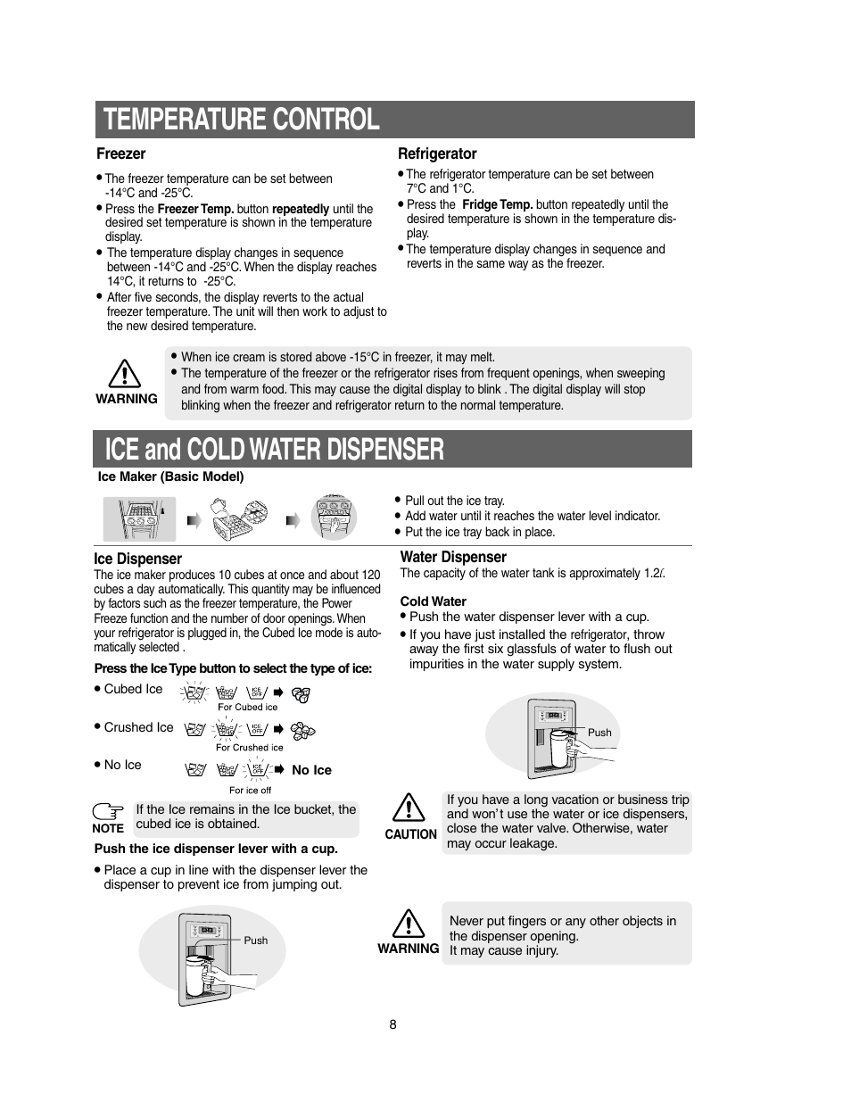 Temperature control, Ice and cold water dispenser | Samsung Model