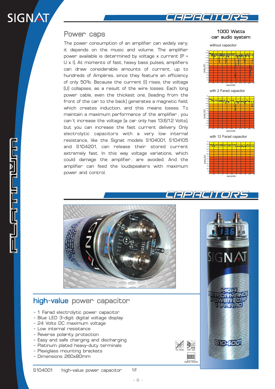 High-v value power capacitor, Power caps, 1000 watts car audio system |  Signat Platinum S104201 User Manual | Page 8 / 12