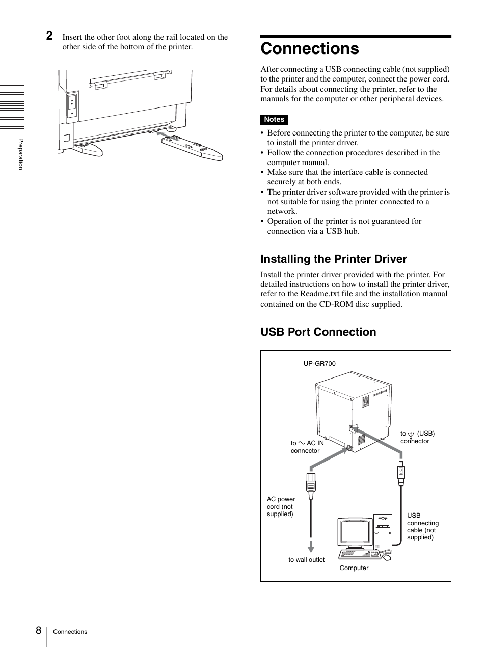 connections installing the printer driver usb port connection rh manualsdir com Sony Operating Manuals ICD-UX523 Sony Sava 57 User Manuals