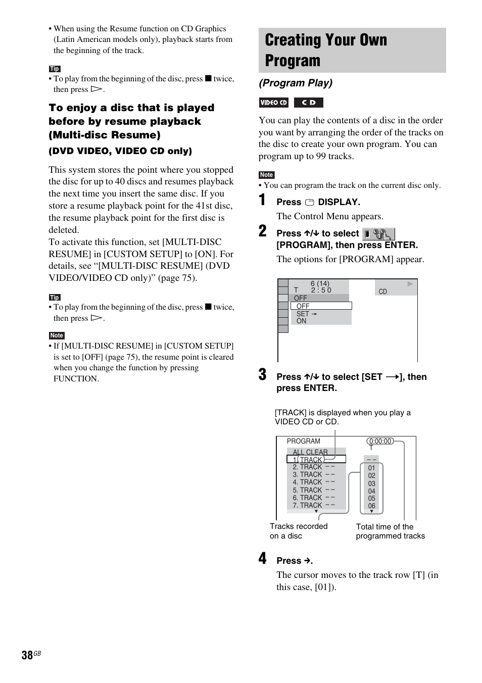 Creating your own program, Program play) | Sony DX315 User Manual