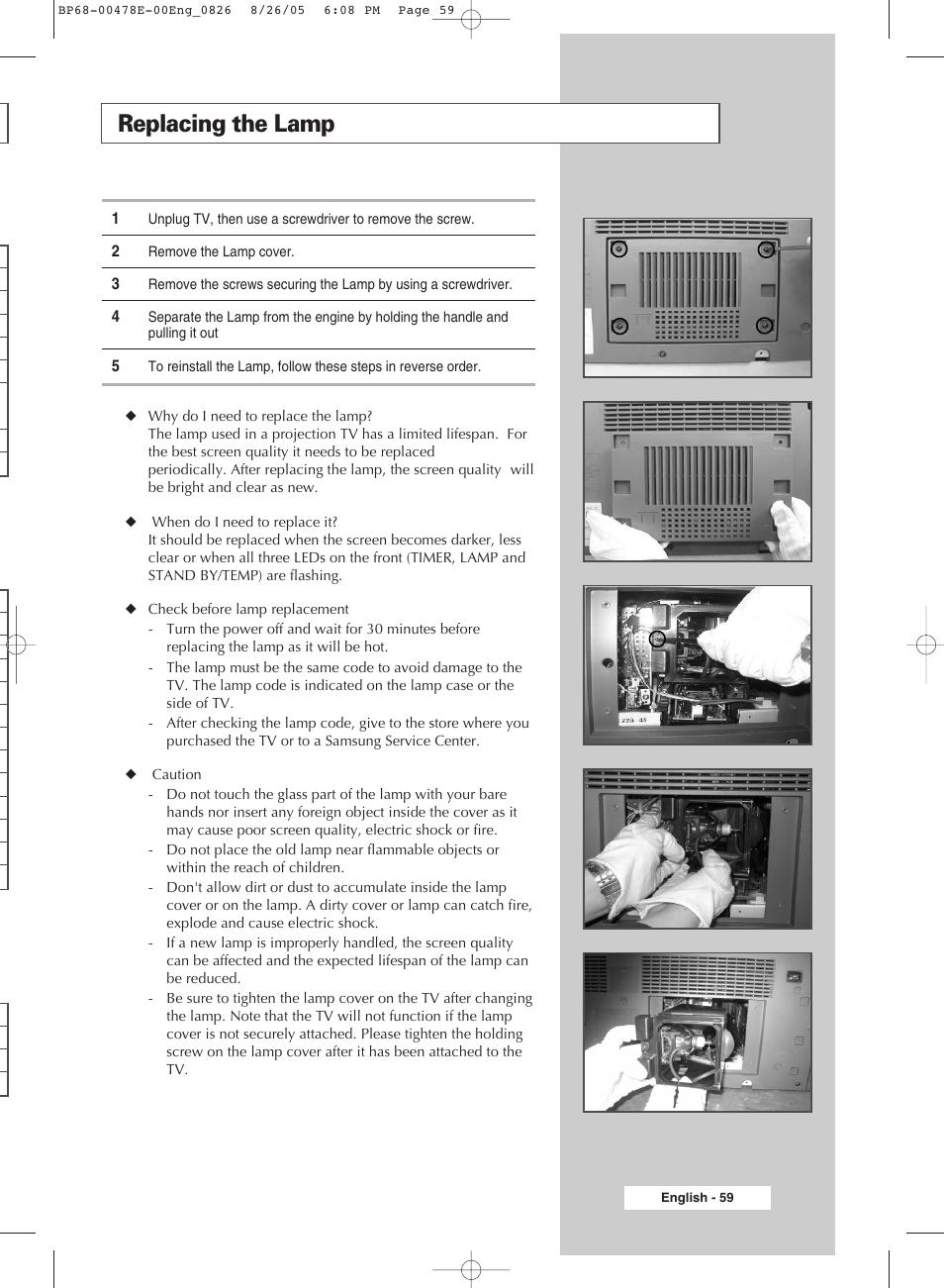 replacing the lamp samsung dlp tv sp46l6hx user manual page 59 rh manualsdir com Samsung TV Manual Model LN46A530P1F Samsung 6000 LED TV Manual