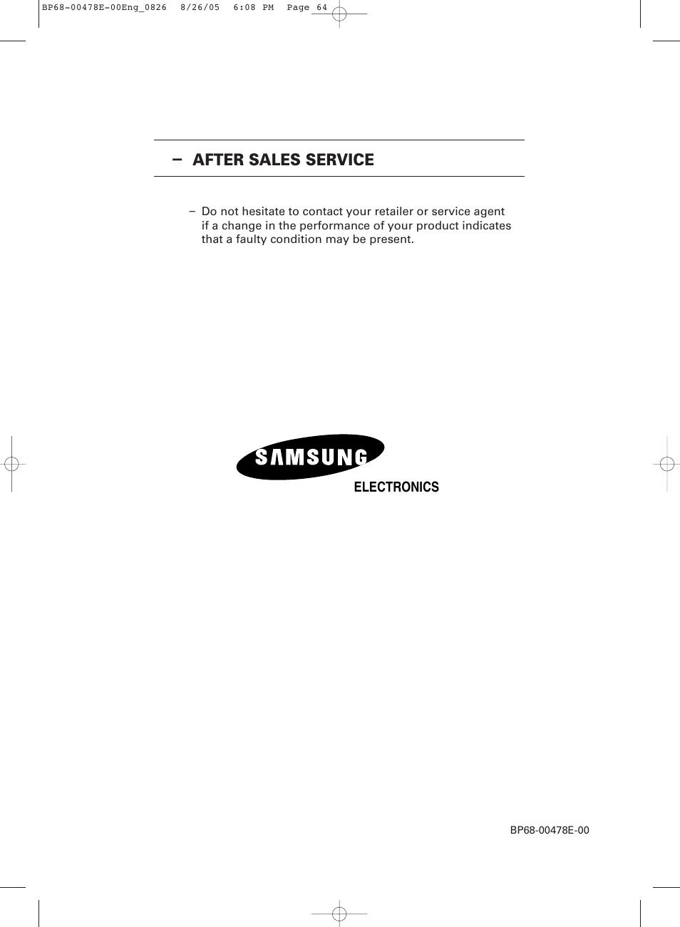 after sales service samsung dlp tv sp46l6hx user manual page 64 rh manualsdir com samsung dlp tv service manual Samsung TV Model Numbers List