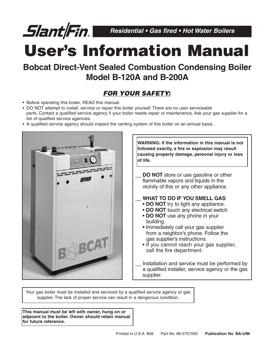 Slant Fin B 200a User Manual 12 Pages Also For B 120a