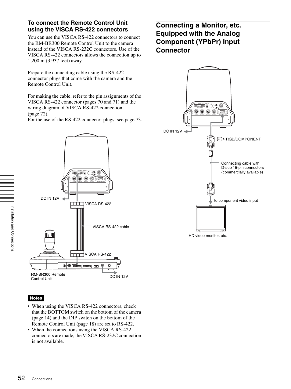 Connecting A Monitor Etc Equipped With The Analog Component Rs 422 Wiring Diagram Ypbpr Input Connector Sony Brc Z330 User Manual Page 52 73