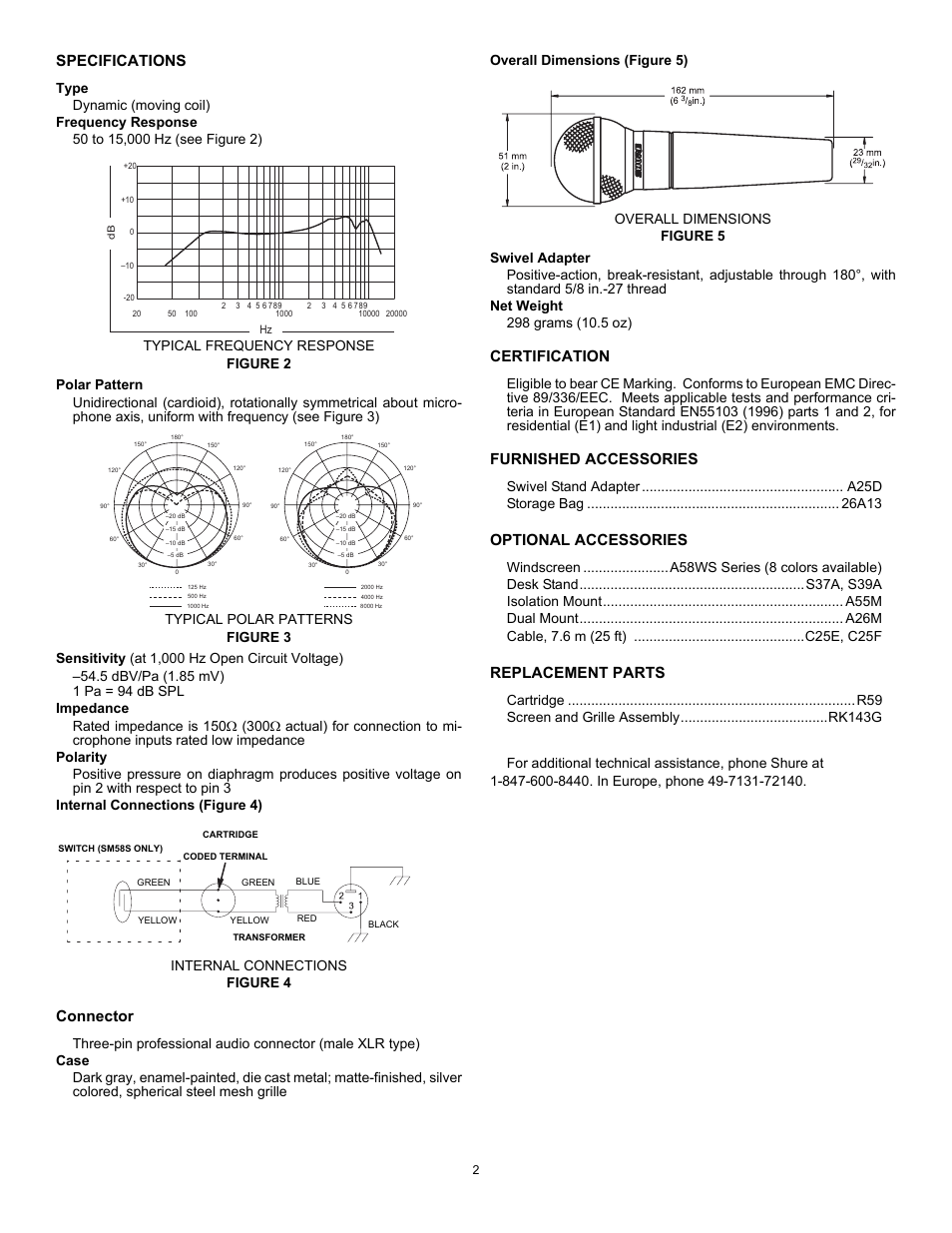 Specifications Type Frequency Response Shure Sm58 User Manual Circuit Polar Pattern Sensitivity At 1000 Hz Open