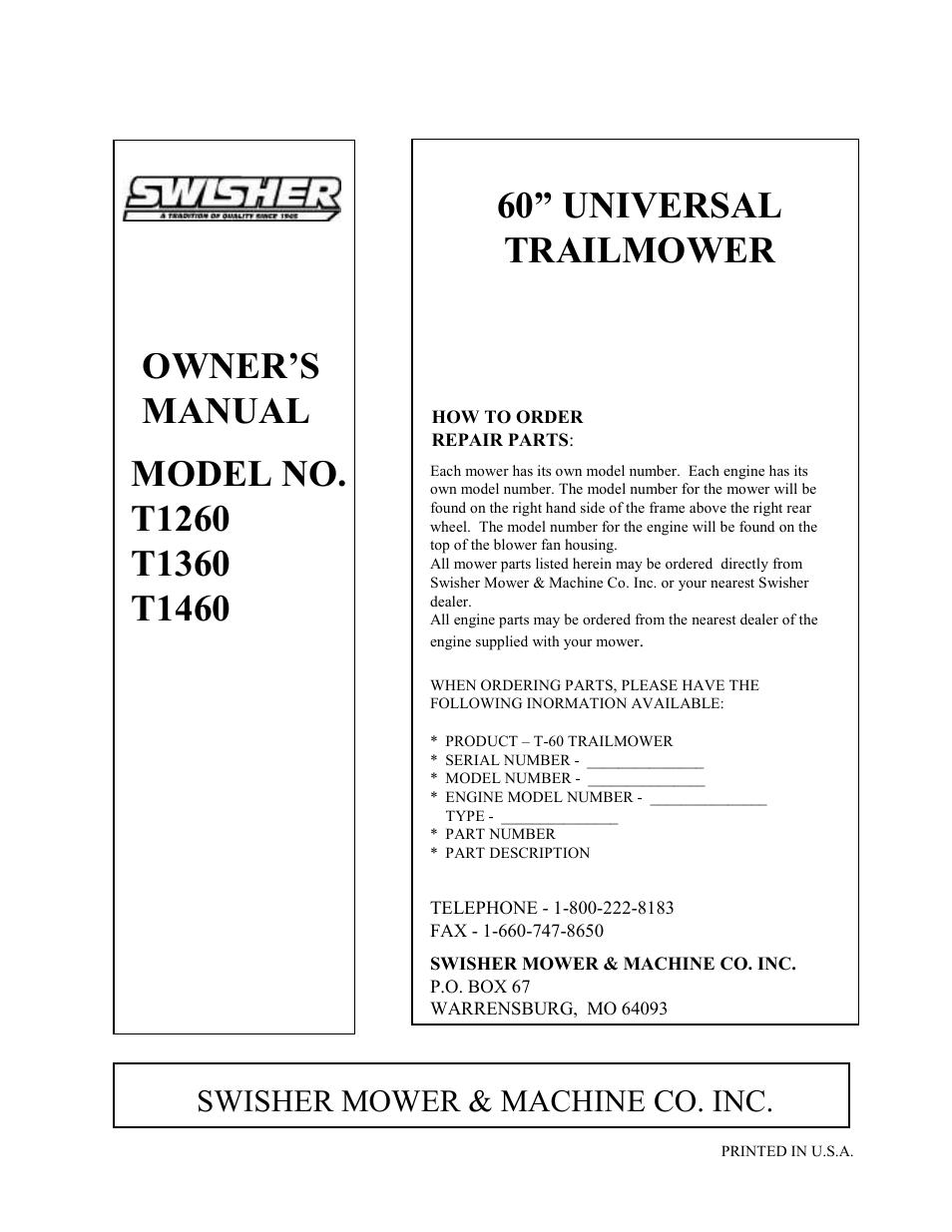 "60"" universal trailmower, Swisher mower & machine co. inc | Swisher T1360  User Manual | Page 20 / 20"