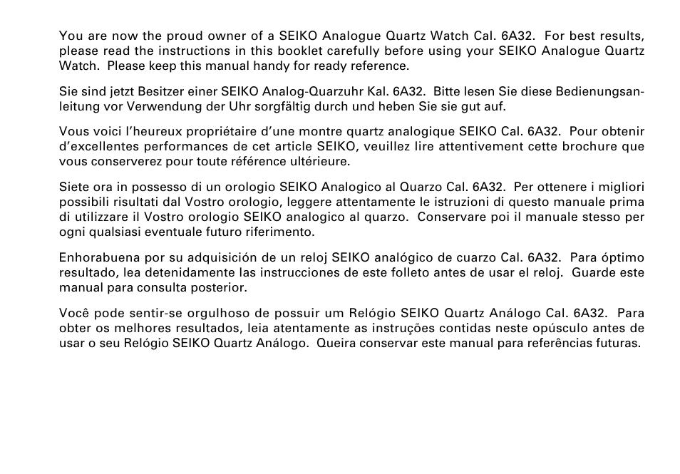 English Seiko Cal 6a32 User Manual Page 2 15 Original Mode