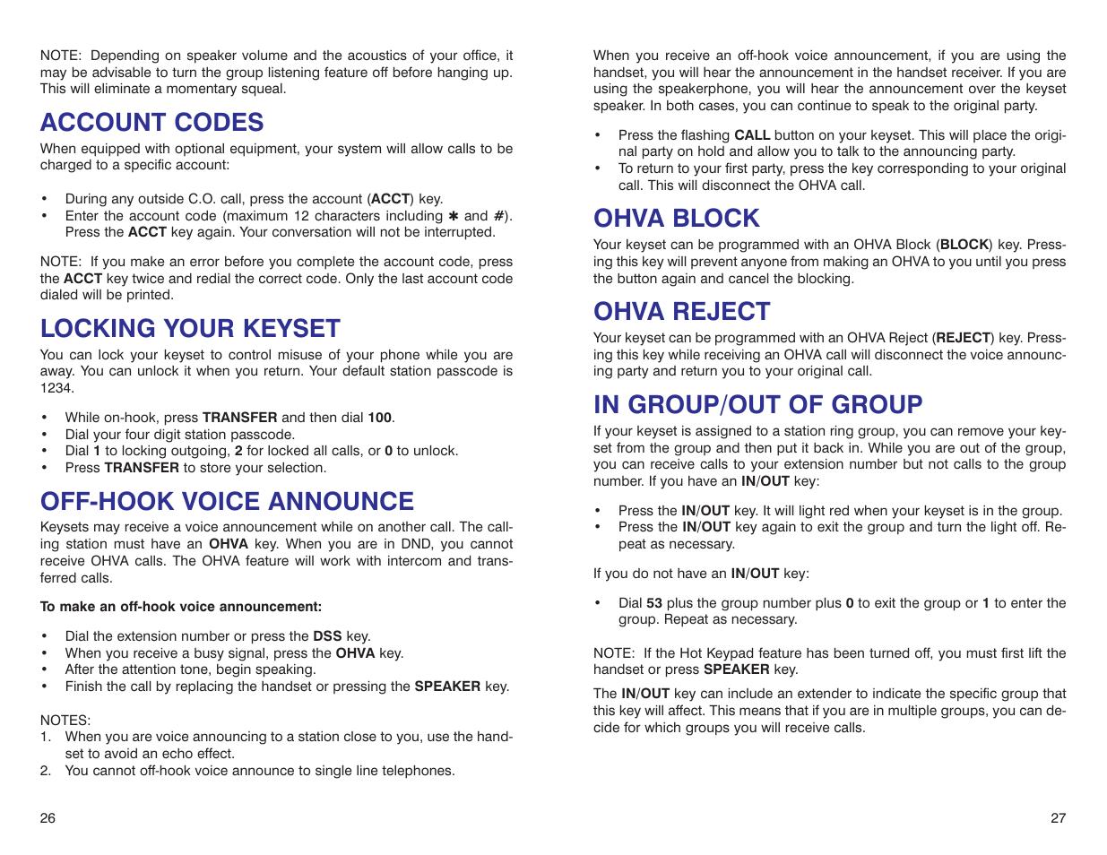 Ohva block, Ohva reject, Account codes | Samsung DS 24D User