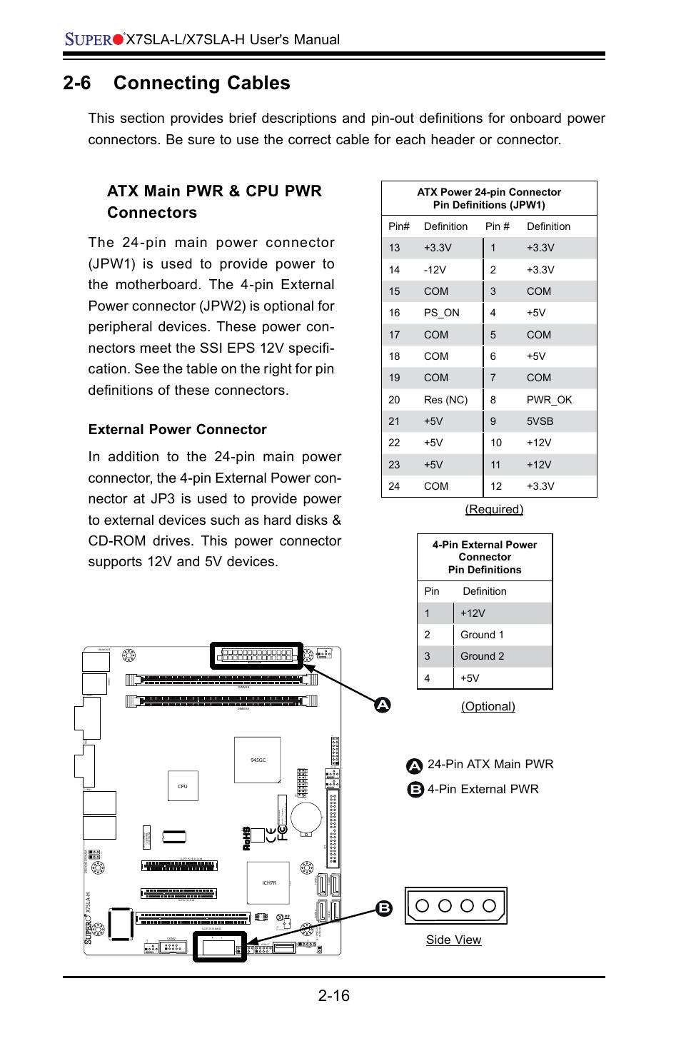 6 connecting cables atx main pwr cpu pwr connectors x7sla l rh manualsdir com Micro Molex Connector Micro Molex Connector