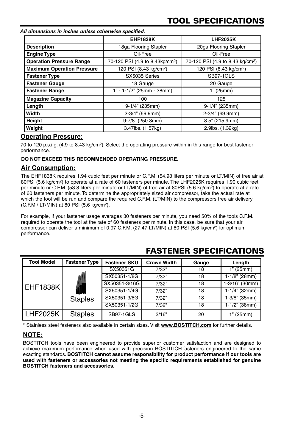Tool specifications, Fastener specifications, Ehf1838k staples | Lhf2025k  staples, Operating pressure, Air