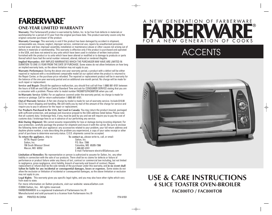 FARBERWARE 4 SLICE TOASTER OVEN-BROILER FAC800TO User ...