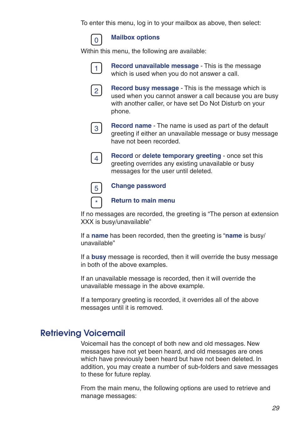 Retrieving Voicemail Snom Voip Pabx User Manual Page 29 36