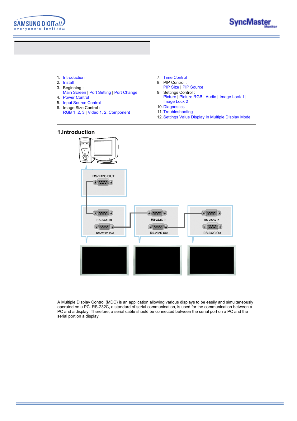 Multiple display control (mdc), Introduction | Samsung 323T