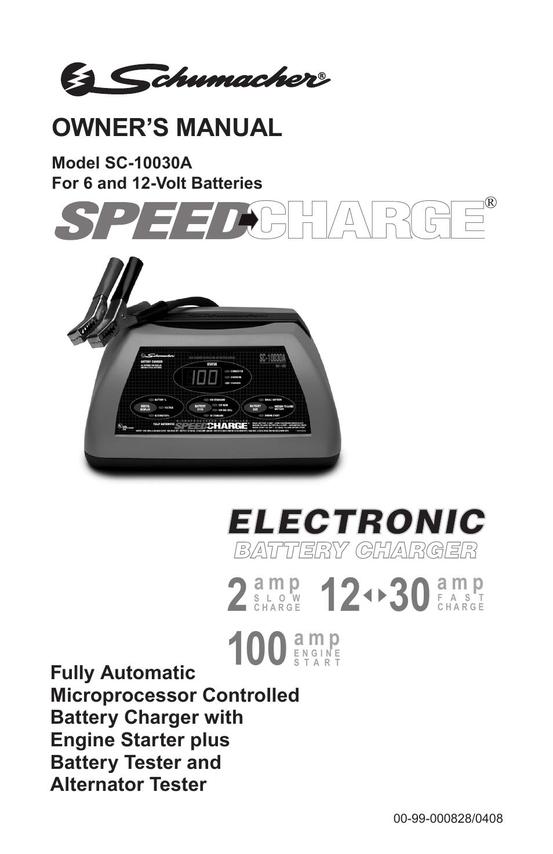 Schumacher Battery Charger Manual >> Schumacher Sc 10030a User Manual 40 Pages