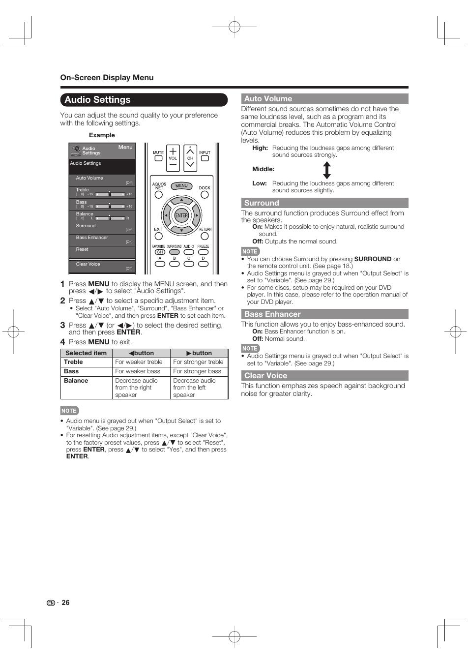 Audio settings, On-screen display menu, Auto volume   Sharp AQUOS