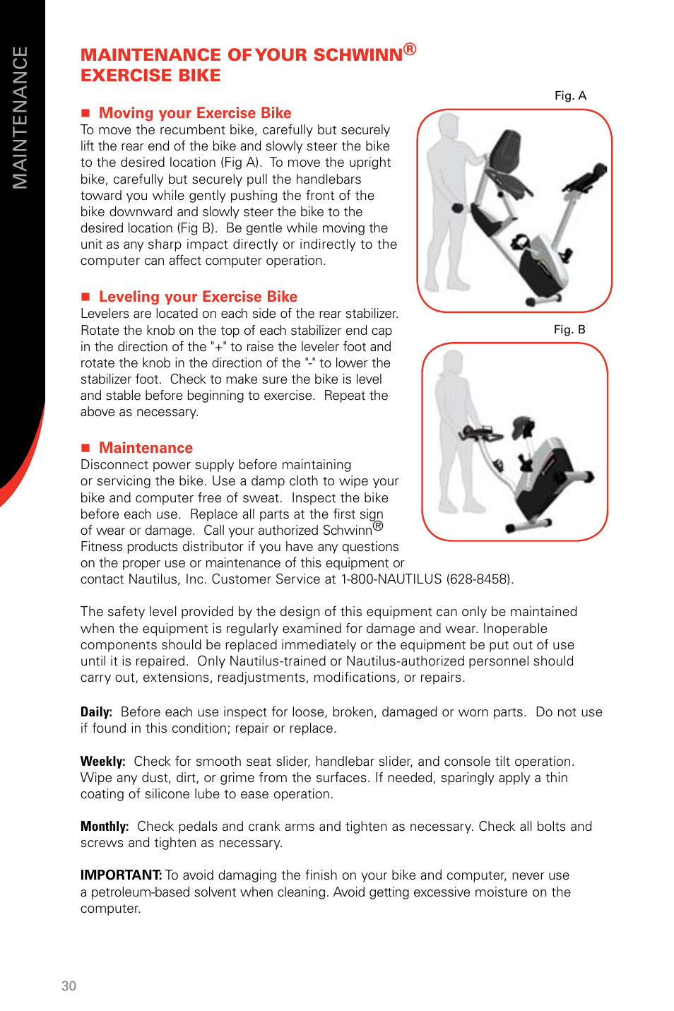 Maintenance of your schwinn® exercise bike | Schwinn SR23
