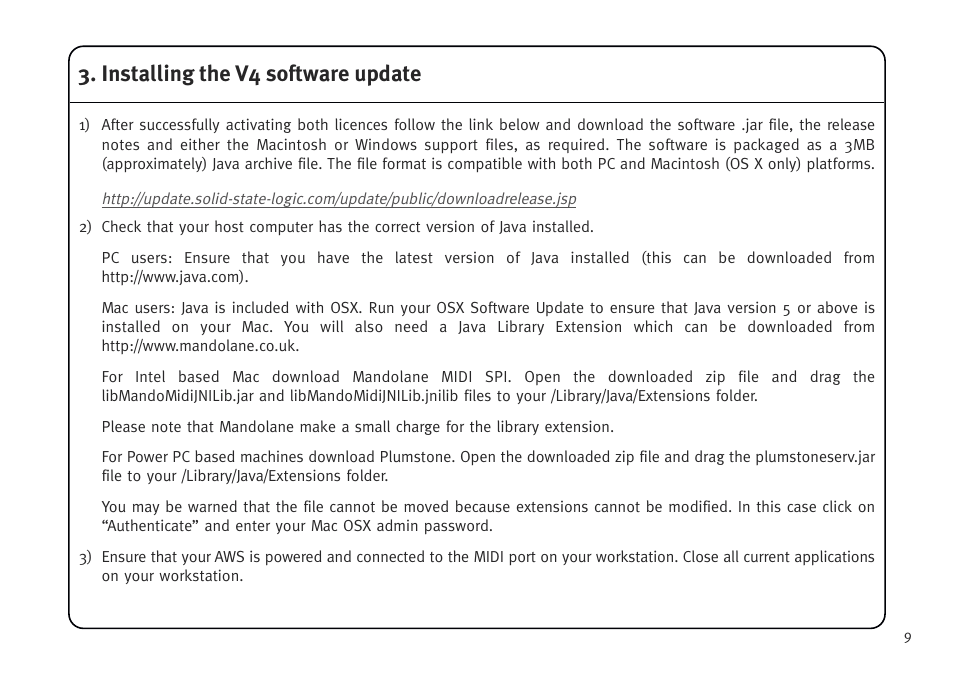 Installing the v4 software update | Solid State Logic AWS V4