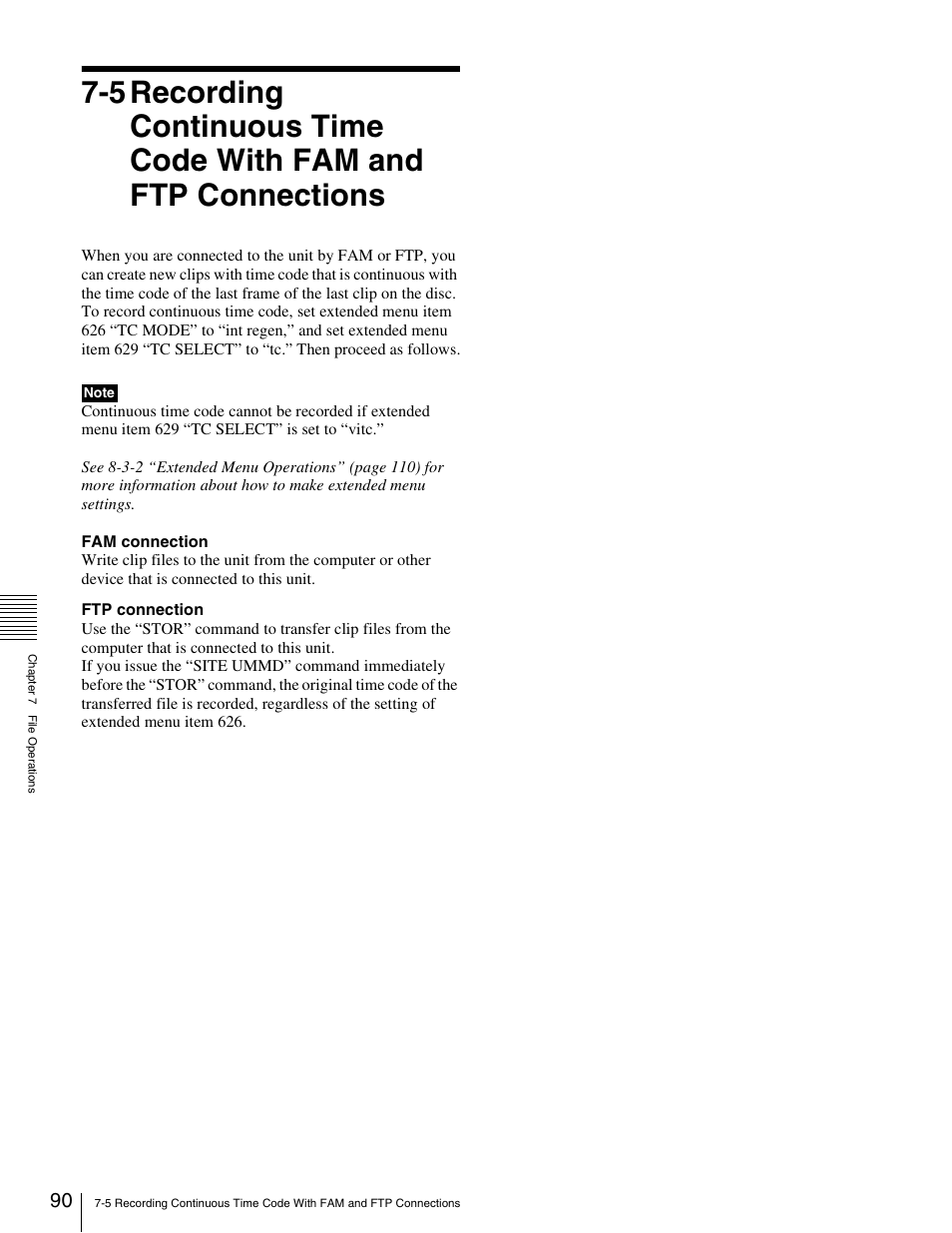5 recording continuous time code with, Fam and ftp connections