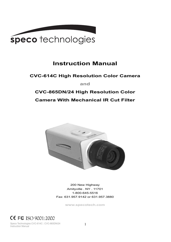 speco technologies cvc 865dn 24 user manual 12 pages rh manualsdir com Speco Cushion Speco Speakers