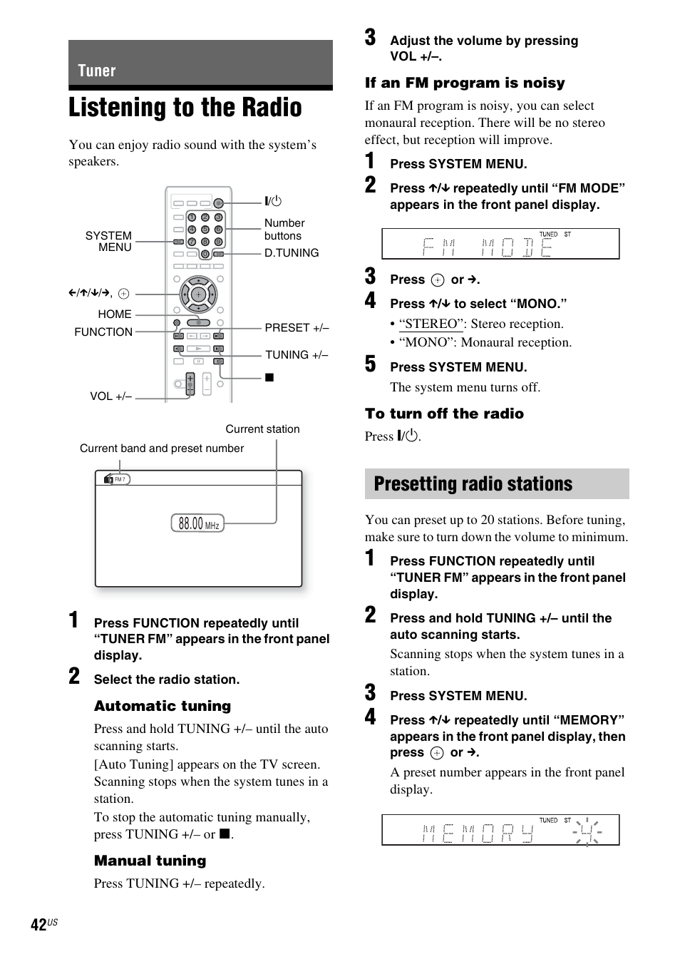 tuner listening to the radio presetting radio stations sony bdv rh manualsdir com Sony BDV- N8100W 5 1 Sony BDV E380