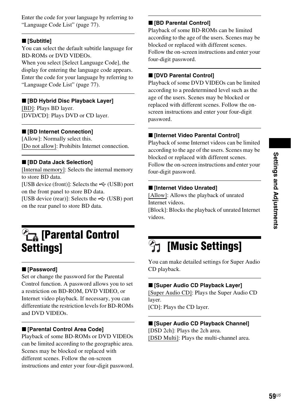 parental control settings music settings parental control settings rh manualsdir com Sony BDV- E570 Sony BDV- N8100W 5 1