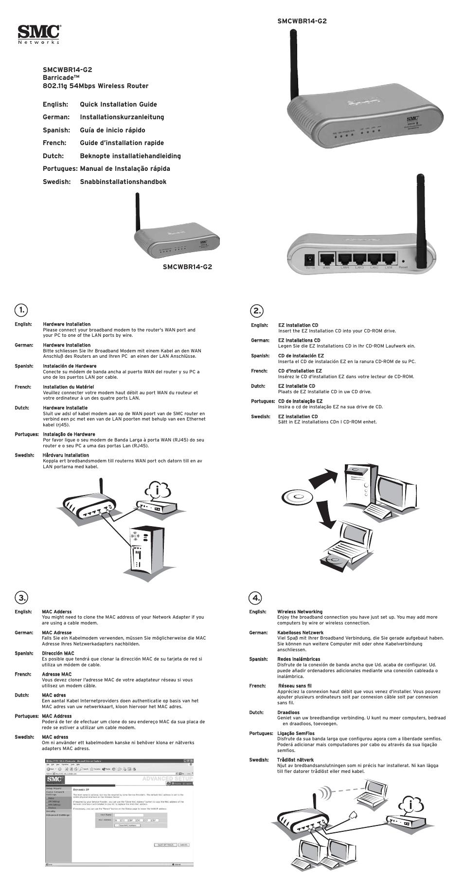 Wiring Diagram For Smc Modem Simple Schema Manifold Networks Barricade Smcwbr14 G2 User Manual 2 Pages Motion Sensor