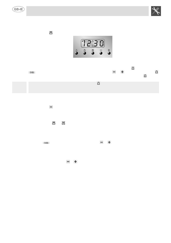 end of cooking minute counter adjusting alarm volume smeg