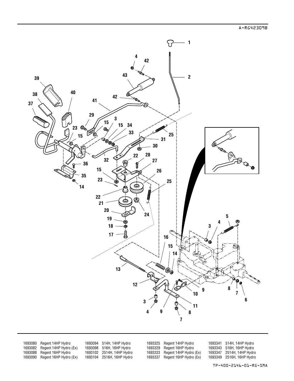Control linkage group — hydro models | Simplicity REGENT 500