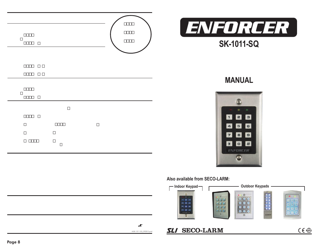 Digital Access Keypad Q2006 C Manual Door Access Control
