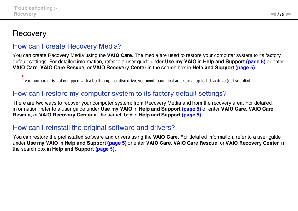 Recovery, How can i create recovery media | Sony VAIO VPCJ11