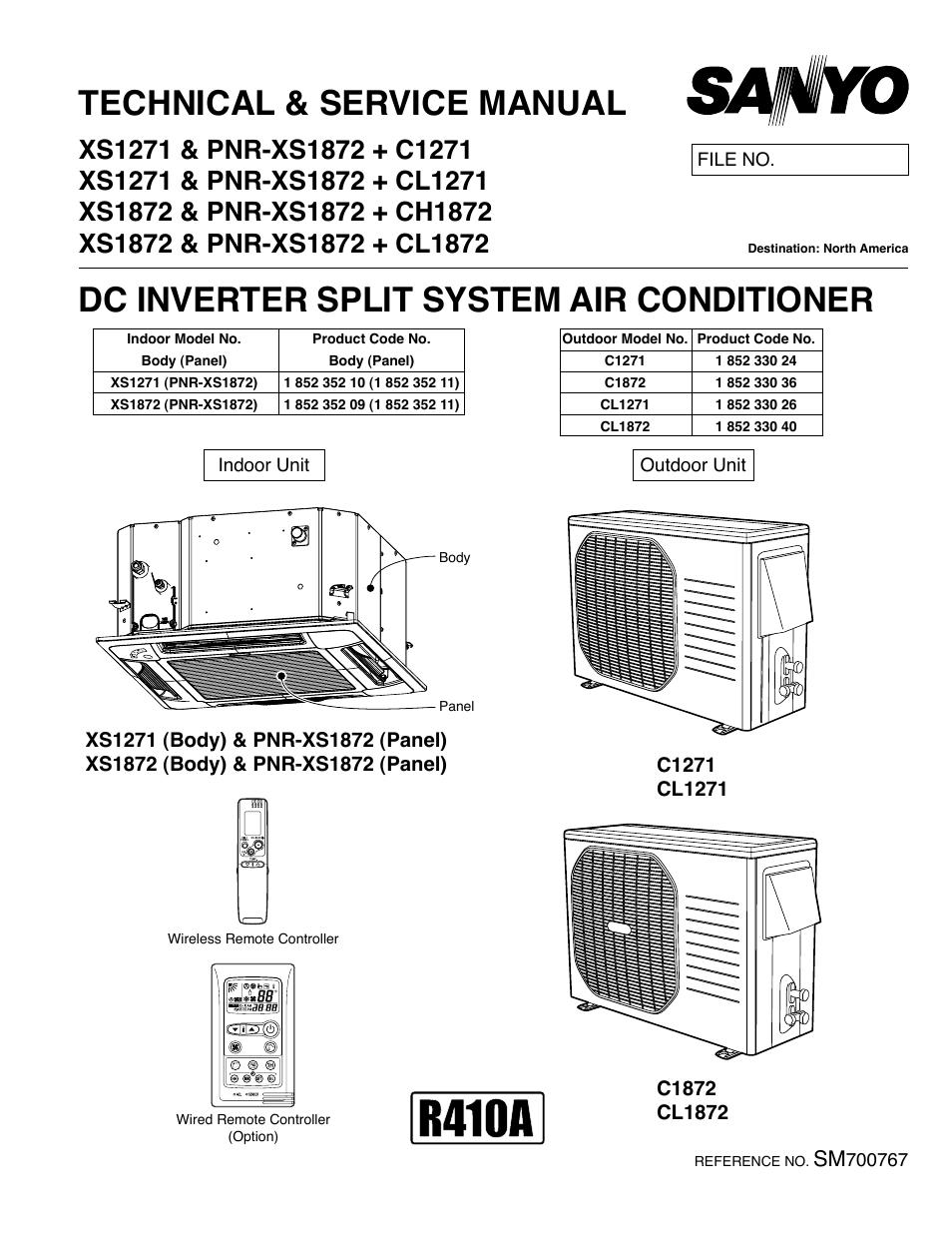 sanyo dc inverter split system air conditioner c1271 user Split Air Conditioner sanyo room air conditioner owner's manual