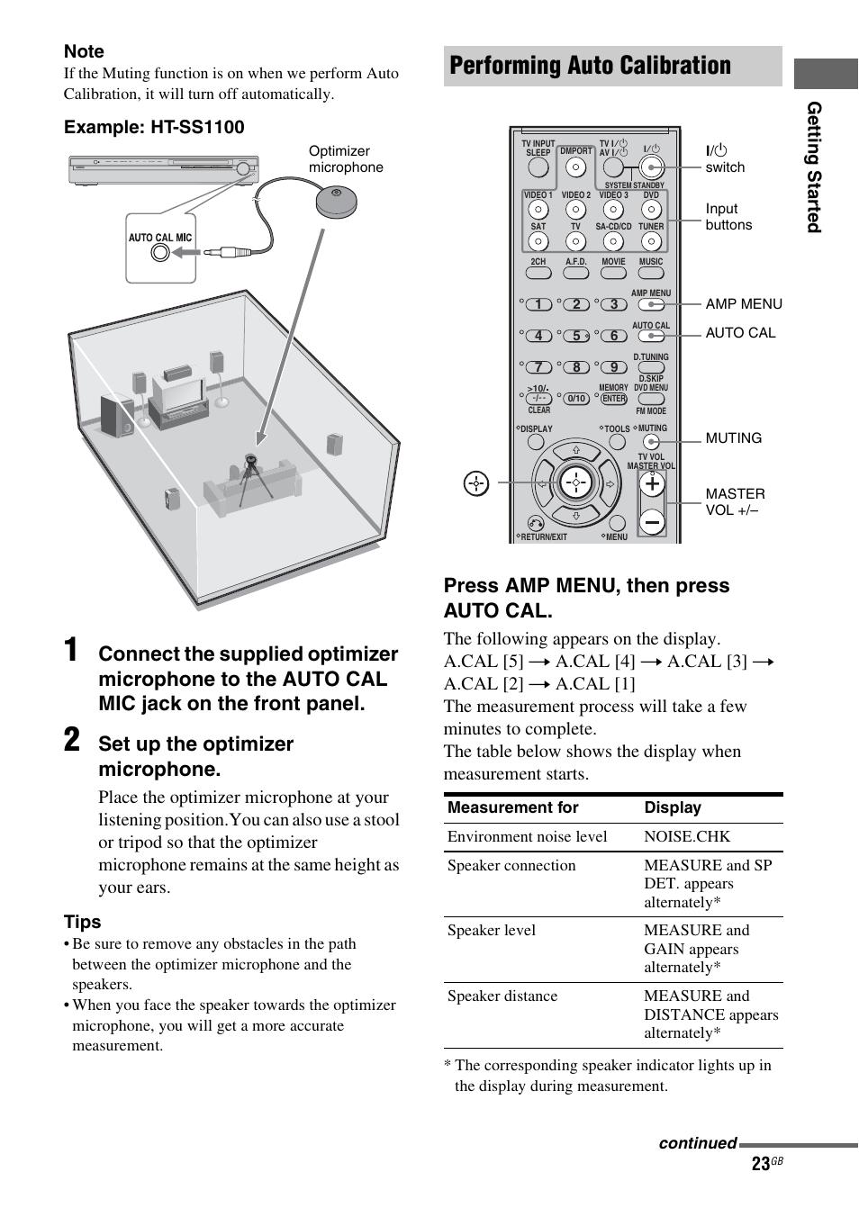 Performing auto calibration, Set up the optimizer microphone, Press amp  menu, then press