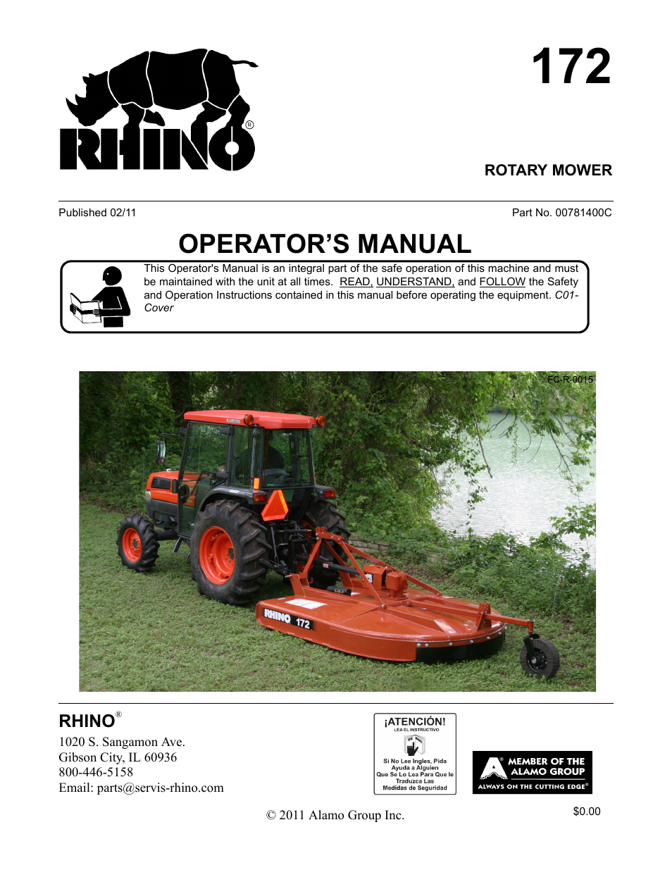 Servis-Rhino 00781400C User Manual | 180 pages