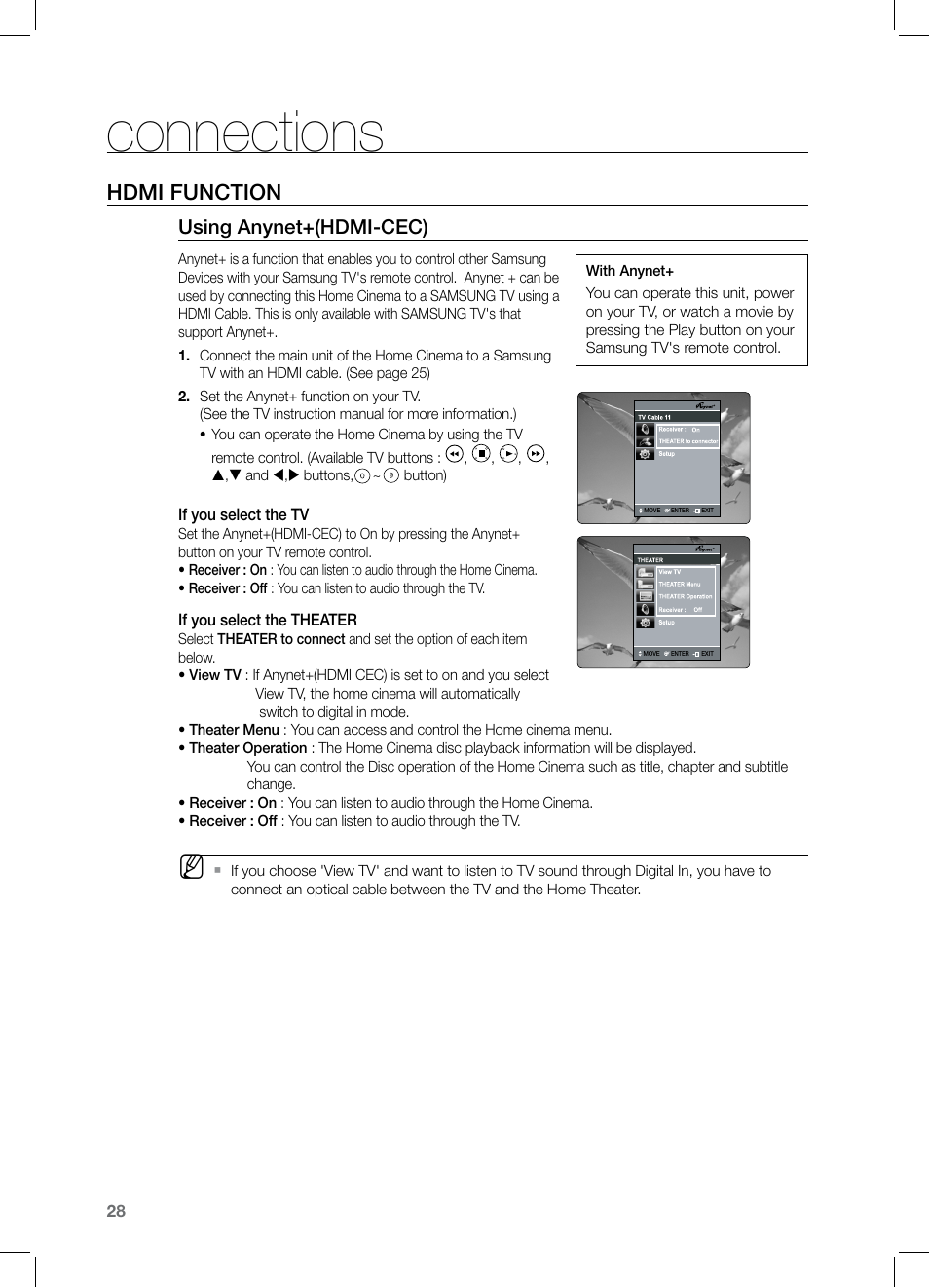 Connections, Hdmi function, Using anynet+(hdmi-cec