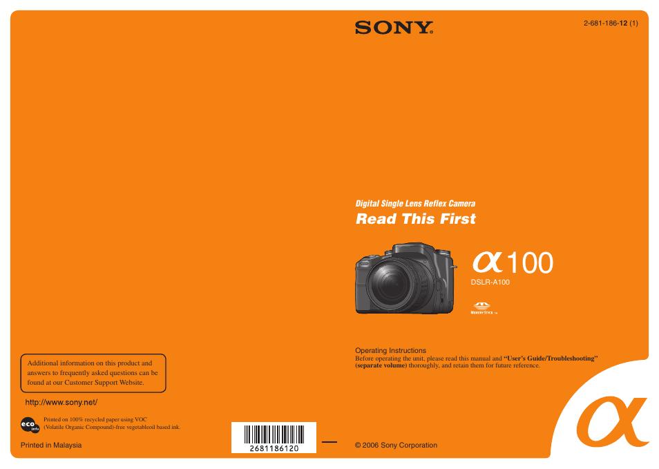 sony dslr a100 user manual 19 pages rh manualsdir com sony alpha 100 instruction manual sony a100 camera user manual