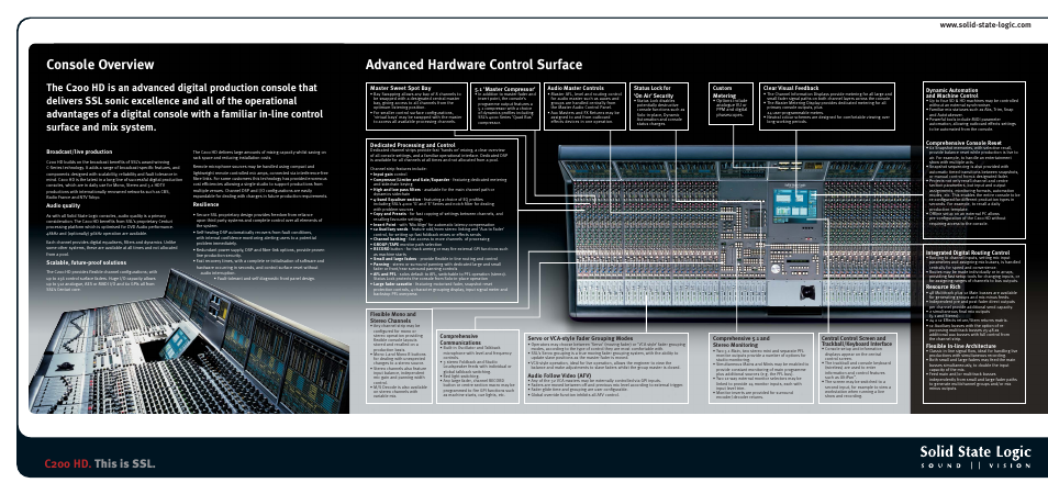 Console overview advanced hardware control surface, C200 hd