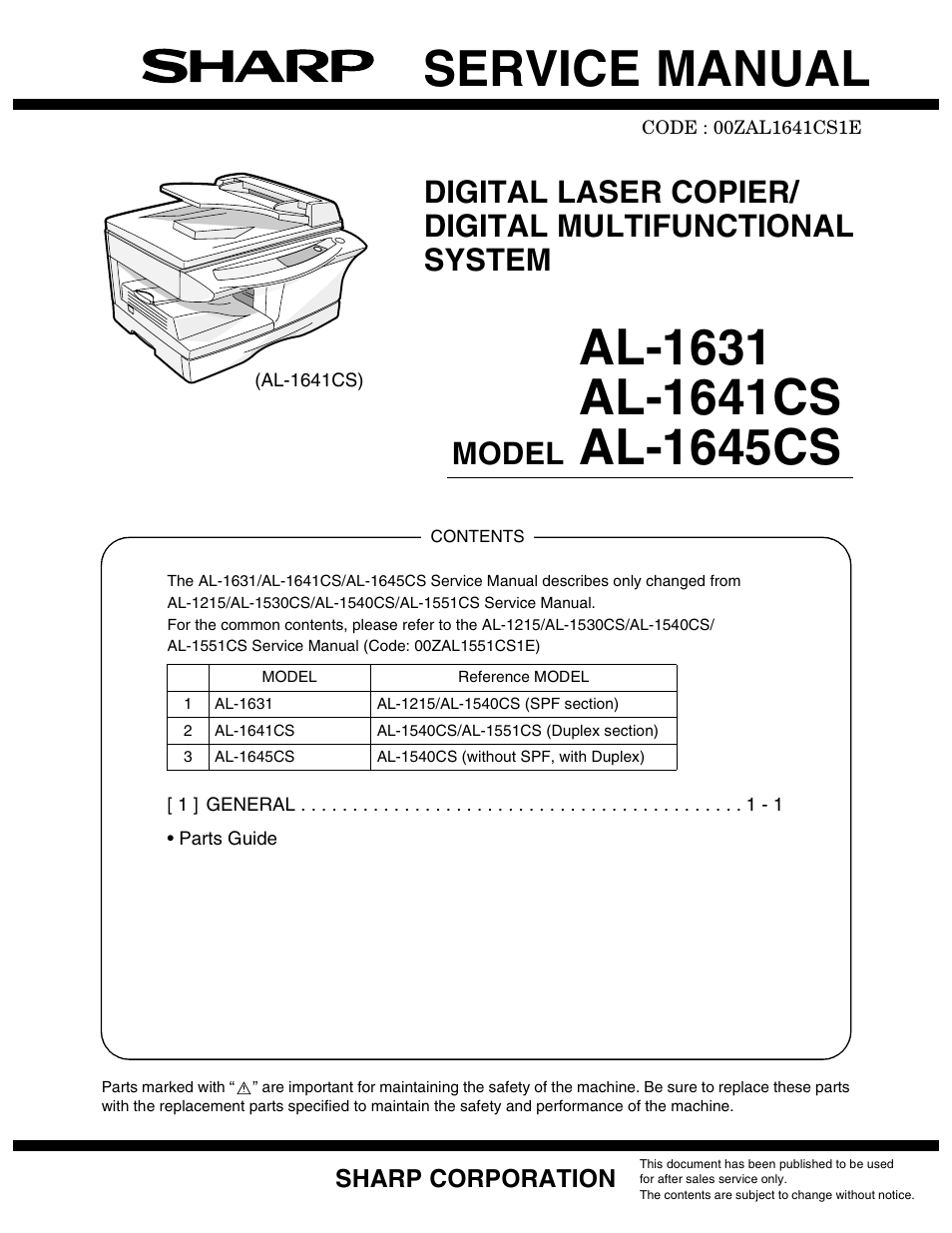 sharp al 1641cs user manual 20 pages also for al 1645cs al 1631 rh manualsdir com sharp copier manuals free sharp mfp manual