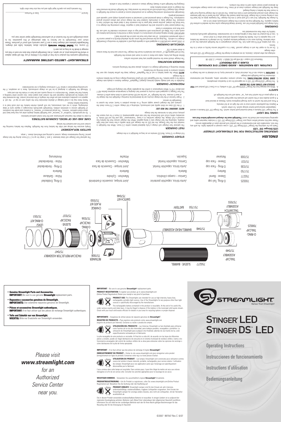 StreamLight STINGER 757055 User Manual   2 pages   Also