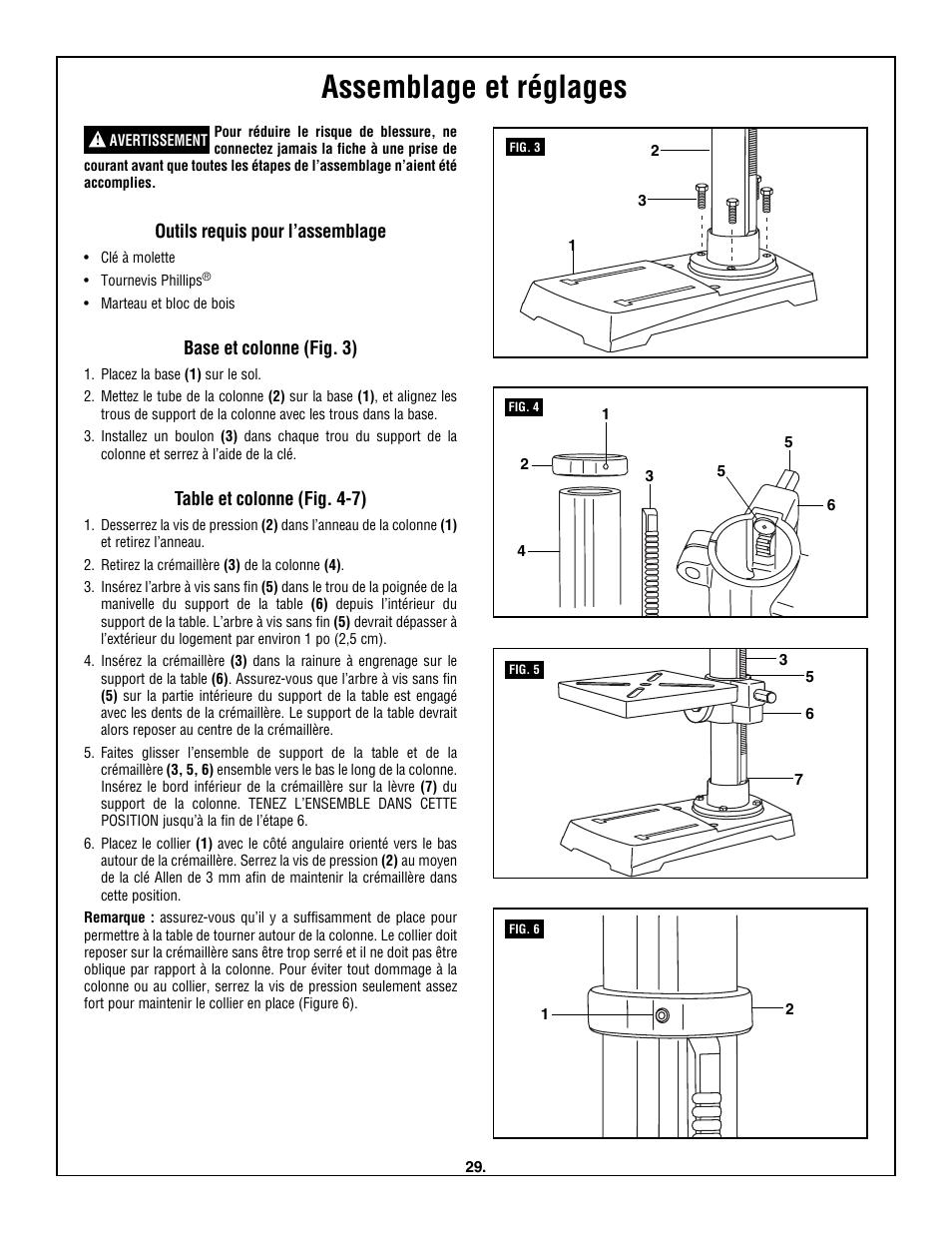 assemblage et r glages outils requis pour l assemblage base et rh manualsdir com