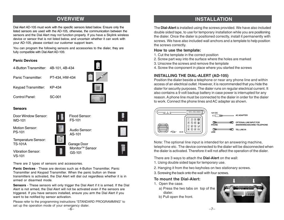 overview installation skylink dial alert ad 105 user manual rh manualsdir com Skylink Sky Talk Skylink Sky Talk