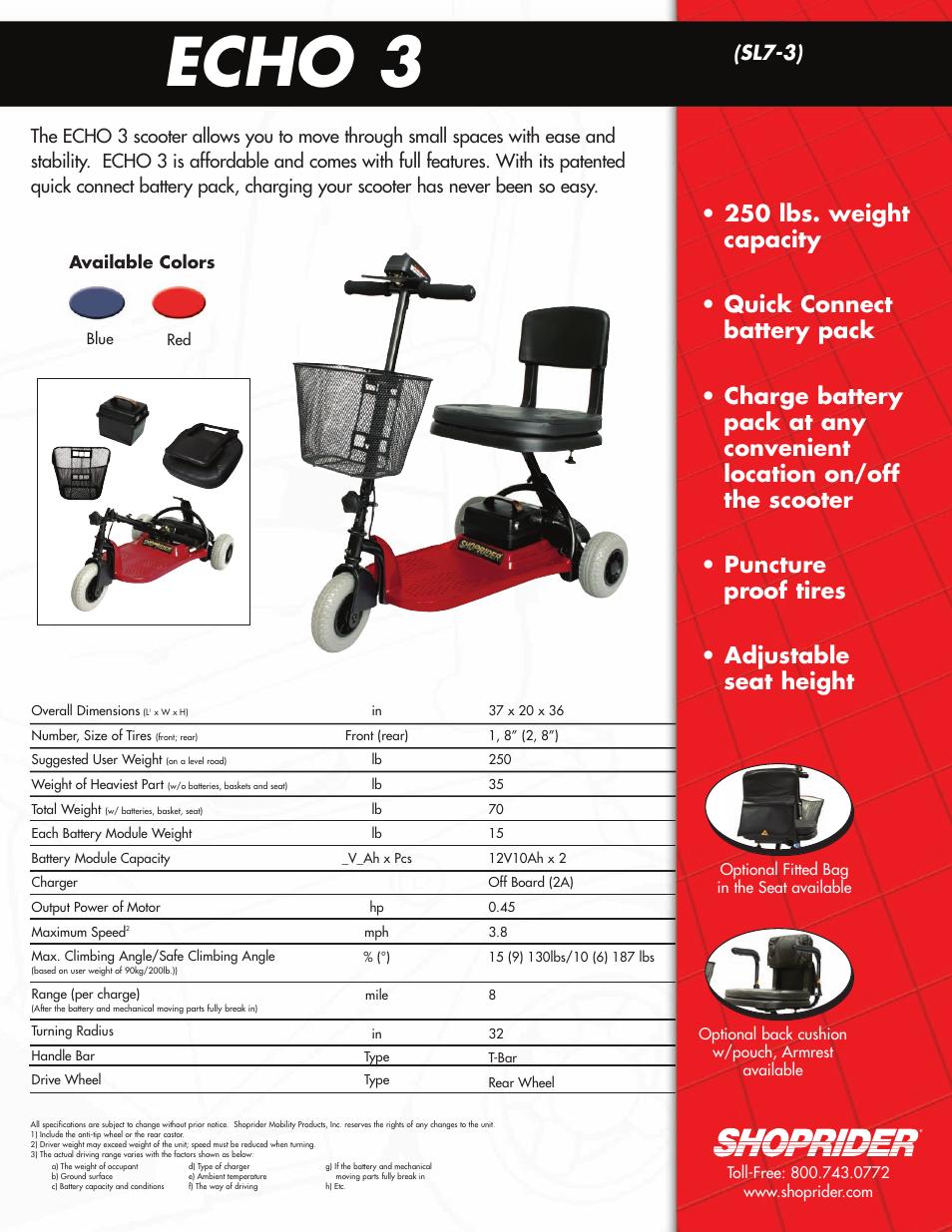 Shoprider Echo 3 SL7-3 User Manual | 1 page