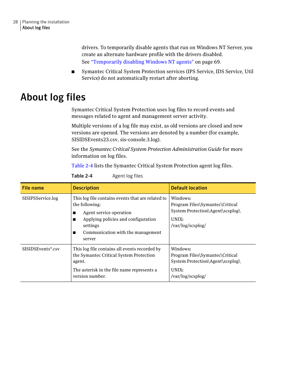 About log files | Symantec Critical System User Manual